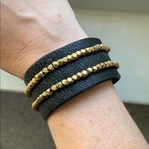 Kevia leather bracelet with brass stones